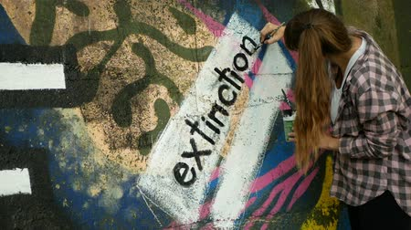 OLOMOUC, CZECH REPUBLIC, SEPTEMBER 22, 2019: Activist woman paints and repainting symbol Extinction Rebellion climate emergency on legal wall for graffiti, action demonstration Wideo