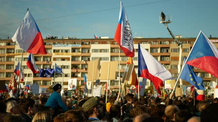 Вениамин : PRAGUE, CZECH REPUBLIC, NOVEMBER 16, 2019: Demonstration people crowd against Prime Minister Andrej Babis demise, 300,000 mass protesters throng Letna Prague, flags and banners, Benjamin Roll activist