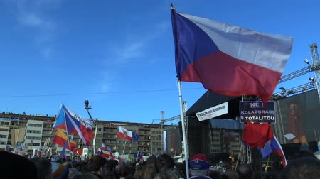 PRAGUE, CZECH REPUBLIC, NOVEMBER 16, 2019: Demonstration people crowd against Prime Minister Andrej Babis demise, 300,000 mass protesters throng Letna Prague, flags and banners, Mikulas Minar activist Wideo