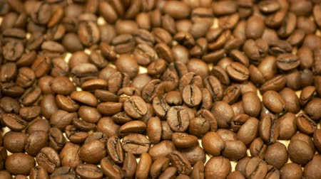 farm in brazil : Coffee beans detail roasted cultivated Brazil. Variety Coffea arabica organic bio coffee espresso Italian preparation refreshing, shop store healthy, plant roasting Arabian, light brown background Stock Footage