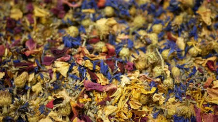 hibiscus tea : Herbal tea dried blend mixture of rose, cornflower, hibiscus, thyme leaf petals and mother-of-tea for high-quality teas as well as decorative. traditional folk medicine, diseases hectic stressful Stock Footage