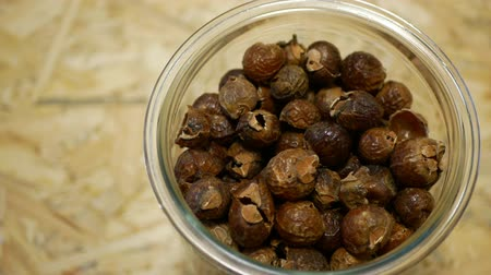 psoriasis : Soap nuts Indian soapberry or washnut glass jar cup, Sapindus mukorossi reetha or ritha from the soap tree shells are used to wash clothes to put drum washing machines. Nuts saponin plant fruit seeds Stock Footage
