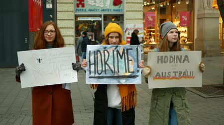 BRNO, CZECH REPUBLIC, JANUARY 10, 2019: Friday for future, activists and activism demonstration climate change fire bushfires Australia, banner sign Burning, crowd young people students high school Wideo