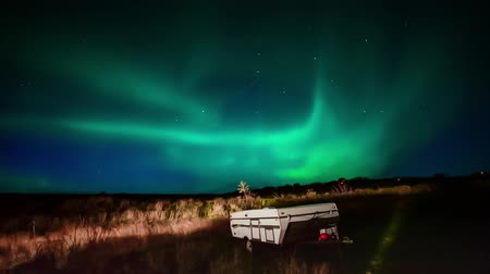 dark green : Aurora borealis  Iceland Stock Footage