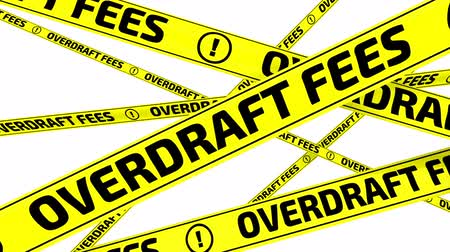 tapeçaria : Overdraft fees. Yellow warning tapes in motion Stock Footage