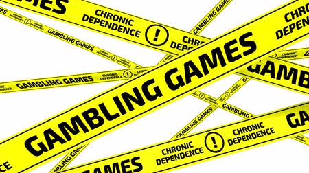 tapeçaria : Gambling games. Chronic dependence. Yellow warning tapes in motion