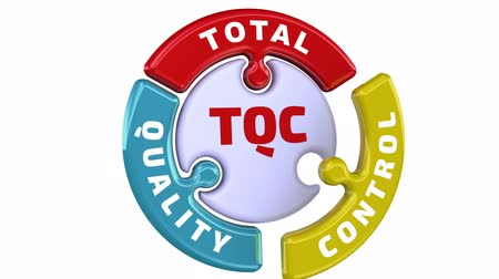 qualidade : TQC. Total quality control. The check mark in the form of a puzzle Stock Footage