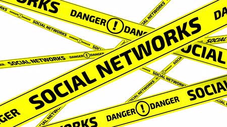 tapeçaria : Social networks. Danger. Yellow warning tapes