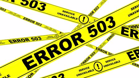 tapeçaria : ERROR 503 - Service unavailable. Yellow warning tapes Stock Footage