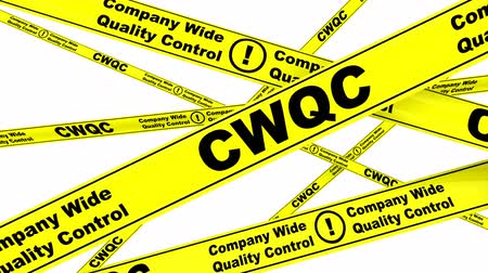 tapeçaria : CWQC. Company Wide Quality Control. Yellow warning tapes