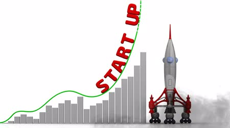 rockets : Start up. The graph of growth Stock Footage