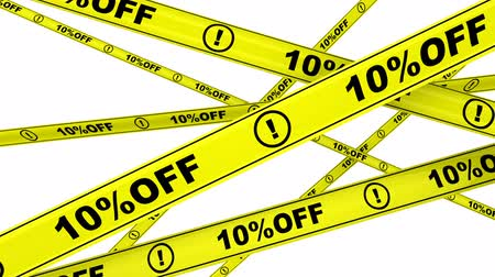 tapeçaria : 10 percentage off. Yellow warning tapes