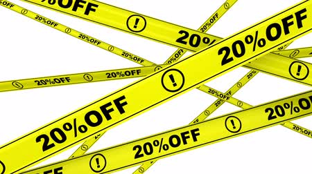 hazardous : 20 percentage off. Yellow warning tapes Stock Footage