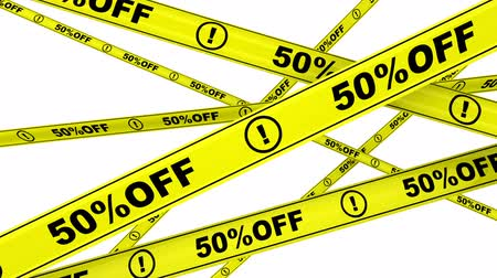 tapeçaria : 50 percentage off. Yellow warning tapes with text 50% OFF. Footage video