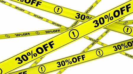 tapeçaria : 30 percentage off. Yellow warning tapes with text 30% OFF. Footage video Stock Footage