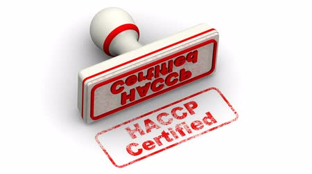 standart : HACCP Certified. The stamp leaves a imprint Stok Video