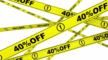 tapeçaria : 40 percentage off. Yellow warning tapes in motion Stock Footage