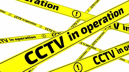 tapeçaria : CCTV in operation. Yellow warning tapes in motion Stock Footage
