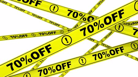 tapeçaria : Seventy percentage off. Discount of 70%. Yellow warning tapes in motion