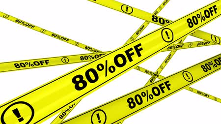 tapeçaria : Eighty percentage off. Discount of 80%. Yellow warning tapes in motion