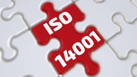 ISO 14001. The inscription on the missing element of the puzzle Стоковые видеозаписи