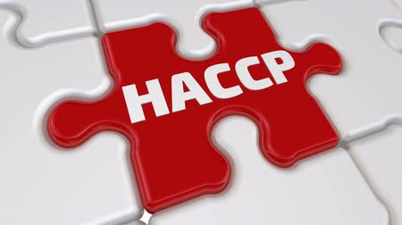 HACCP. The inscription on the missing element of the puzzle Стоковые видеозаписи