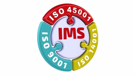 "requisitos : SOY S. Sistema Integrado de Gestión ISO. La inscripción ""IMS. ISO 9001, ISO 14001, ISO 45001"" en el rompecabezas emergente en forma de círculo. Video video Archivo de Video"
