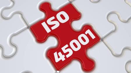 ISO 45001. The inscription on the missing element of the puzzle Стоковые видеозаписи