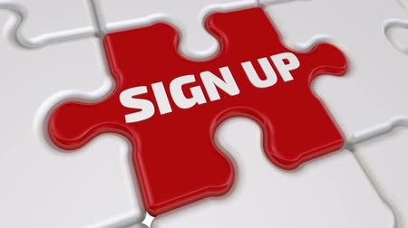 registration : Sign up. The inscription on the missing element of the puzzle Stock Footage
