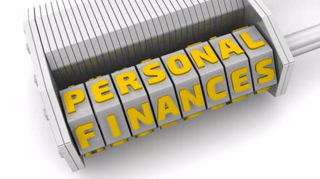 Personal finances. Code on a combination padlock. PERSONAL FINANCES on a white surface. Footage video