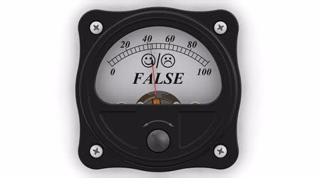 assess : The indicator of the FALSE in action. The analog indicator shows the balance in percentages. Footage video Stock Footage