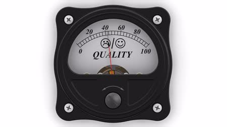 assess : The indicator of the QUALITY in action. The analog indicator is the key indicator in percentages. Footage video Stock Footage