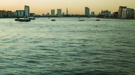 greenwich : London Sunset view of the Thames from Greenwich Stock Footage