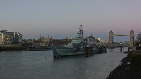 belfast : View of the Tower Bridge and the HMS Belfast after sunset