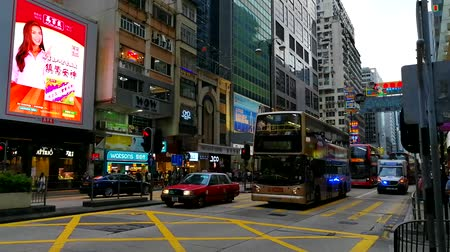 doppeldecker : Die Nathan Road im Mong Kok District von Hong Kong