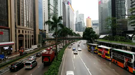 doppeldecker : The Gloucester Road in Wanchai, Hong Kong, on a rainy day Videos