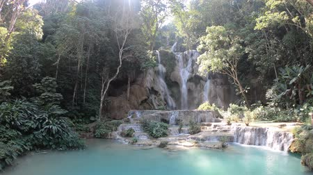 prabang : Majestic main waterfalls of Kuang Si waterfalls in Luang Prabang, Laos
