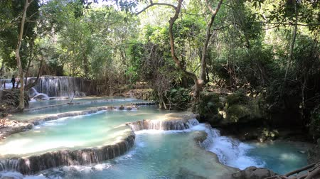 prabang : Turquoise swimming pools of Kuang Si Waterfalls in Luang Prabang, Laos