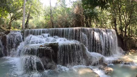 prabang : Majestic cascades of Kuang Si Waterfalls in Luang Prabang, Laos
