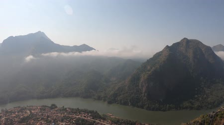 none : Panoramic view of Nong Khiaw and Nam Ou river from Nang None peak, Laos