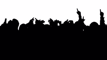 протест : A silhouette of a large crowd of cheering fans at a sports event, rally or music concert.