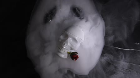 carbon dioxide : HD video white skull & abstract smoky movement effect of dry ice on darkness background Stock Footage