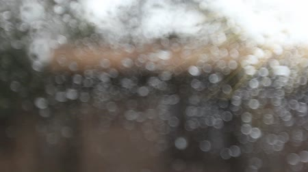 rainy : bokeh rain drops running down a window with morning sunlight ,Rainy Day Stock Footage