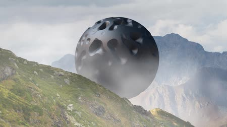 garip : Mysterious floating object, UFO hovering over the mountain landscape. 3d rendering, seamless loop animation. Stok Video