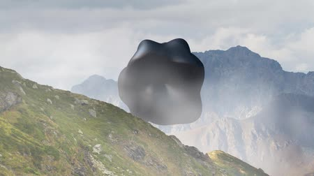 tajemnica : Mysterious floating object, UFO rotating over the mountain landscape. 3d rendering, seamless loop animation.