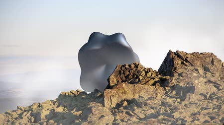 garip : Mysterious floating object, UFO over the mountain landscape. 3d rendering, seamless loop animation. Stok Video