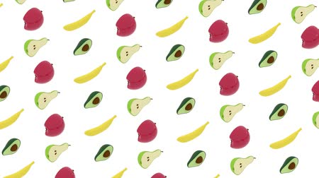 avokado : 3D animation of fruits floating and moving in rows against white background. Seamless 3D animation loop rendering. Stok Video