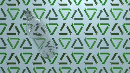 cabeçalho : 3D animation of a plastic bottle floating by on recycle signs background. Seamless 3D animation loop rendering. Ecology and environment background, motion design for poster, branding, banner, header. Vídeos