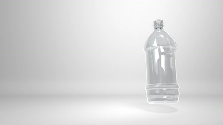 reciclagem : CG animation of a floating plastic bottle on white background, with copy-space. Seamless 3D animation loop rendering.