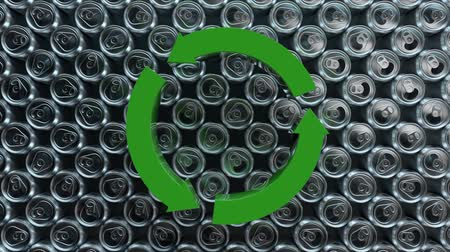 kutuları : Animation of moving round recycling sign on aluminium cans background. 3d CGI seamless loop animation. Environment awareness and ecology, 3d rendering.